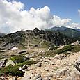 木曽駒ケ岳から宝剣岳方面を望む