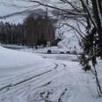 山小屋から岩岳スキー場遠望