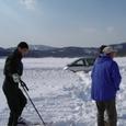 スキーで平坦場を作る