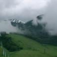 残雪の山々