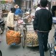 人参とジャガイモを運ぶ女性