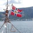 昔はハンザ同盟の旗 今はノルウエー