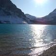 ボウ氷河と夕日