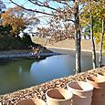 内堤から内濠と古墳本体を眺める