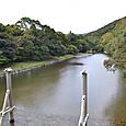 五十鈴川と立て替え前の橋脚位置