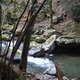 渓谷の水は透けて河底が見える