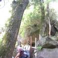 岩の階段を登る